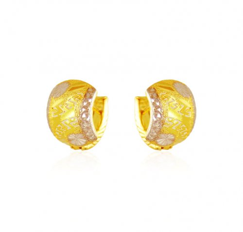 22Kt Two Ton Gold Clip On Earrings