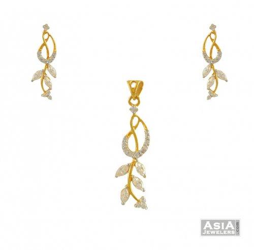 22k floral pendant set ajps54862 22k gold pendant earrings set 22k floral pendant set aloadofball Gallery