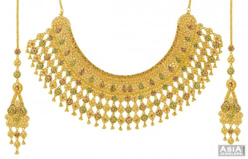 Gold Meenakari Necklace Set