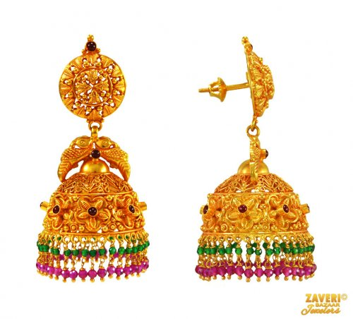 22Kt Gold Temple Jewelry Earring