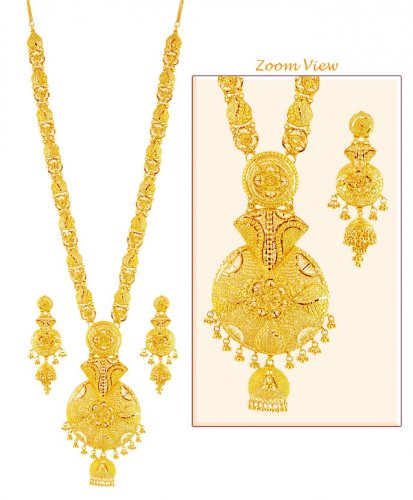 22K Gold Patta Necklace Set AjNs 22k Gold Long Necklace