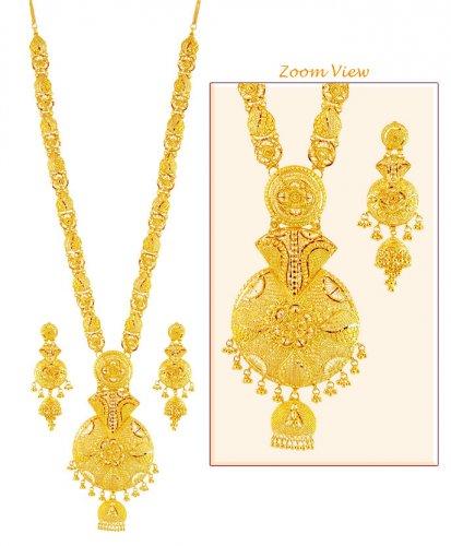 22K Gold Patta Necklace Set AjNs59270 22k Gold Long Necklace