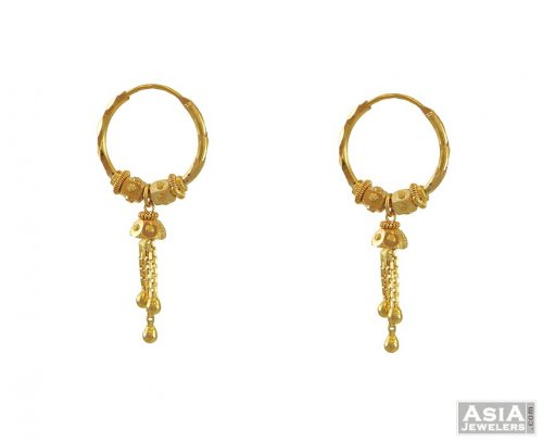 22k Gold Hoops Earring Small Ajer54558 22k Gold Small Bali