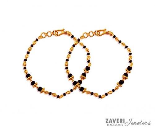 Black Beads Baby Bracelet 22k Ajkb59667 22k Gold Baby