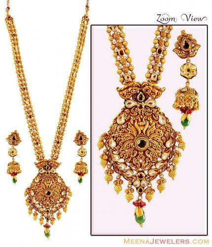 Gold antique necklace set 22k ajns59492 22k gold antique gold antique necklace set 22k aloadofball Image collections