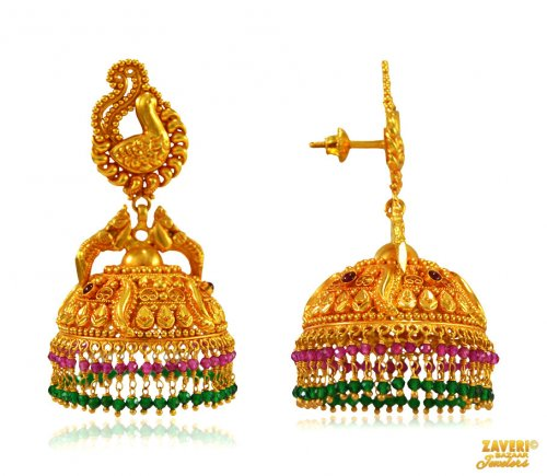 Geru Finish Gold Jhumki Earrings