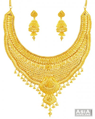 Bridal Yellow Gold Necklace Set 22k ajst57660 22K Yellow Gold