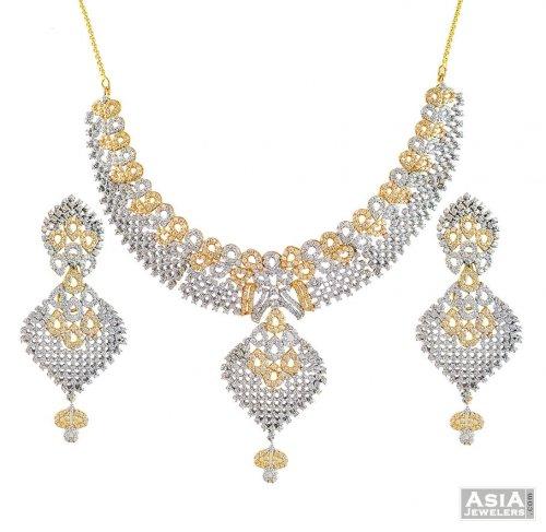 22K Lavish CZ Designer Necklace Set AjNs56666 22kt Gold Necklace