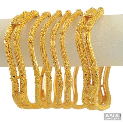 22k Bangle Set Wavy Design Asba55241 22k Gold Indian