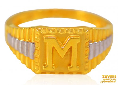 22Kt Gold M Initial Mens Ring