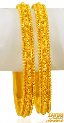 22K Gold Filigree Bangles(2 Pcs)