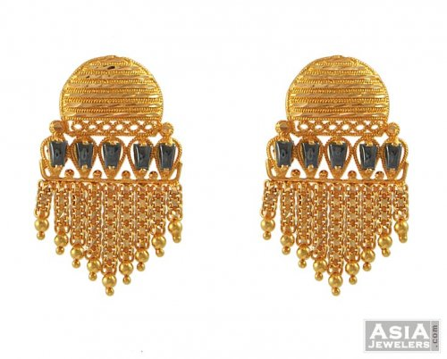 22K Indian Earrings AjEr 22K Gold wide Indian Earrings