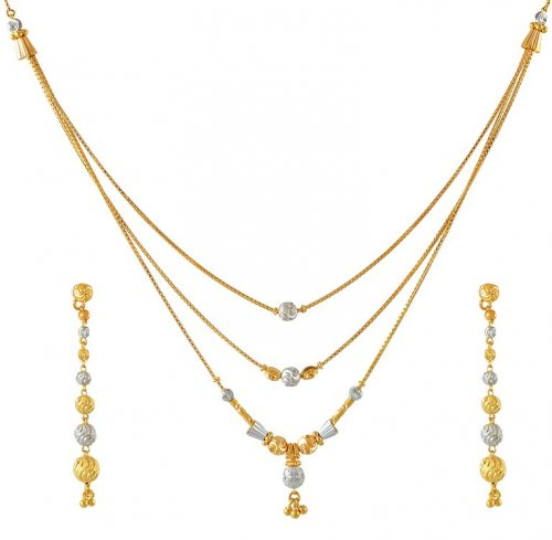Layered Chain Necklace Set Ajns50838 22k Gold Layered Necklace And Earrings Set With Twotone And Hanging Gold Balls On Earring