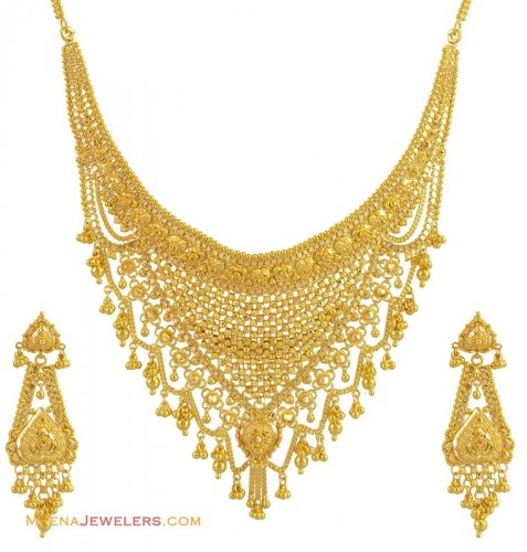 Gold Necklace And Earrings Set 22kt Indian Jewelry With: 22k Gold Necklace Earring Set