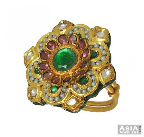 22k Designer Kundan Ring AjRi 22k gold designer la s