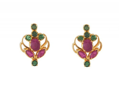 Gold Earring With Ruby And Emerald