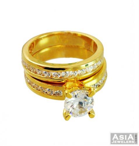 22K Signity Studded Exclusive Ring asri56712 22k gold designer