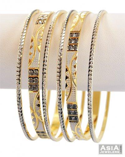 22k Designer Gray Rhodium Bangles Ajba57295 22k Gold