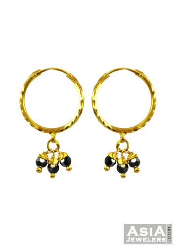 22K Small Gold Black Bead Hoops AjEr 22K Fancy Small Gold