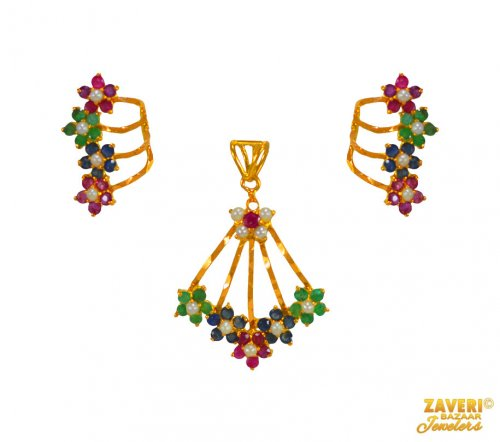 22K Pendant Set (with Precious Stones)