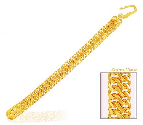 22k Wide Mens Linked Bracelet