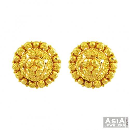 453324f9a 22k Gold Filigree Tops - AjEr55633 - 22K gold tops earrings design ...