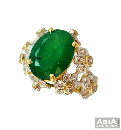 Stunning Emerald Floral Ring 22k AsRi 22K gold ring