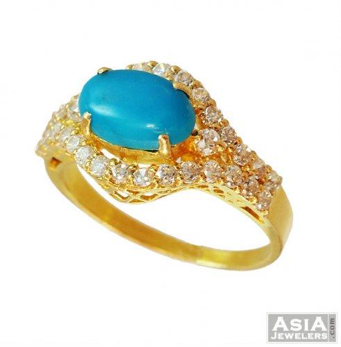 22K Designer Turquoise Ring asri 22K gold ring designed