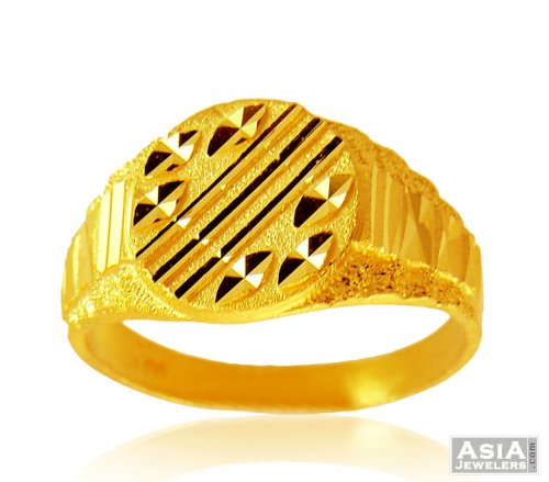 22K Mens fancy Gold Ring AjRi 22Kt Gold Men s Ring with