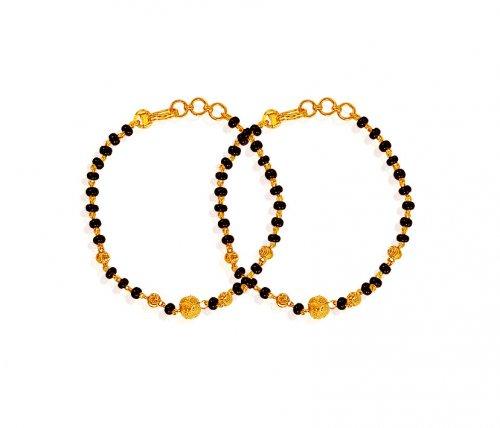 Black Beads Bracelet 22k Ajkb61150 22k Gold Baby