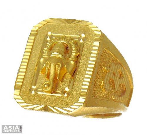 22k Designer Ganesha Ring AjRi 22k gold mens ring