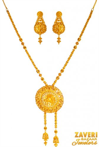 22k Gold Floral Necklace Set