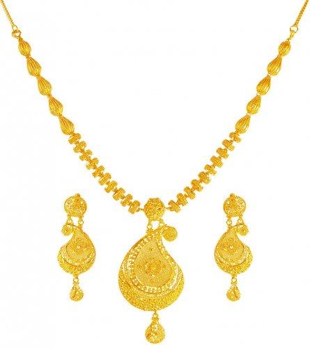 22k gold pendant necklace set ajns61674 22 kt gold pendant style 22k gold pendant necklace set aloadofball Images