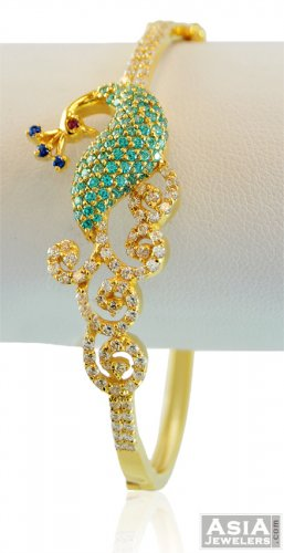 Designer 22K Gold Peacock Bangle - AjBa58311 - 22K Gold ...