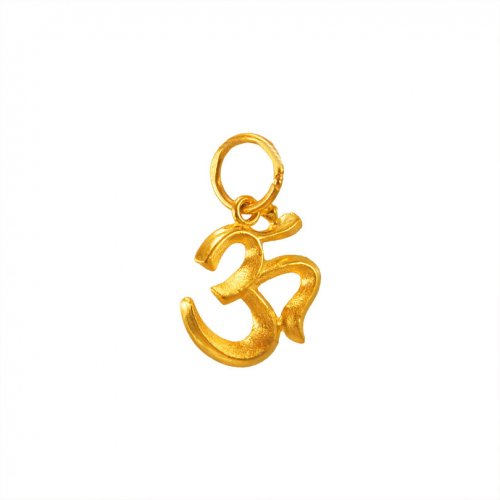 Small Plain Fancy Om Pendant 22k