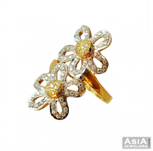 22K Double Flower Design Ring ajri 22k Gold Fancy Two