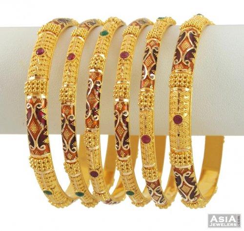 a22c3aea354e0 22K Enamel Paint Bangles - AsBa53746 - 22K Gold Meenakari Bangles ...