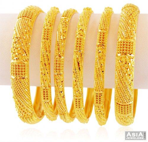 22k Indian Gold Bangles Set Of 6
