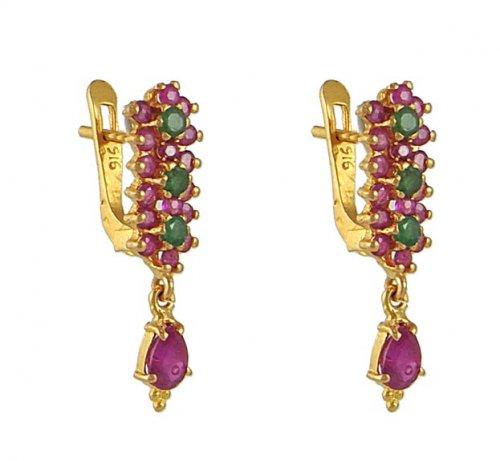 22kt Gold Ruby Emerald Earrings
