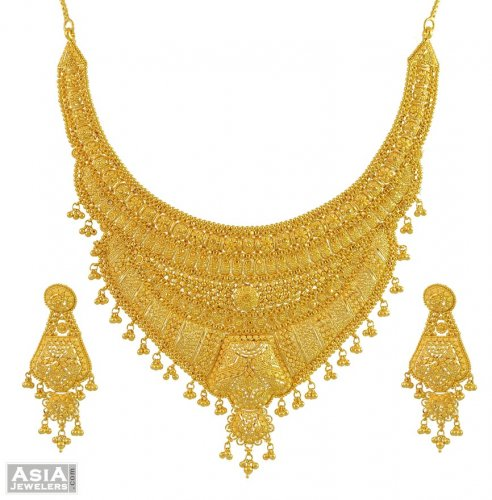 22k Designer Bridal Necklace Set AjNs55082 22k yellow gold