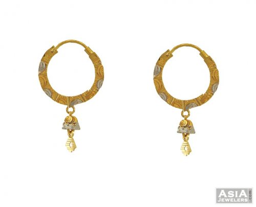 22k Flat 2tone Bali Small Ajer54562 22k Gold Small Bali Hoops
