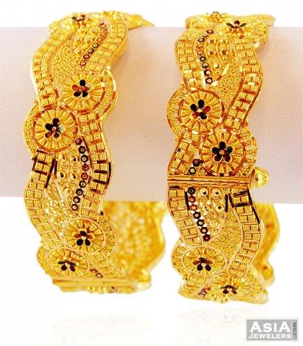 22k Gold Meenakari Kada 2pcs Ajba59267 22k Gold