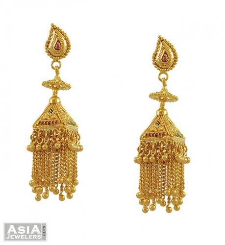Indian Gold Earrings 22 Karat AjEr 22K Gold indian