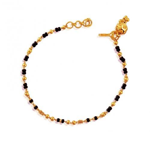 22k Gold Black Beads Bracelet Ajbr60434 Us 337 22k