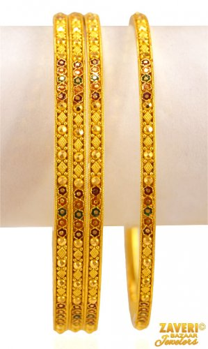 22K  gold Meena Bangles Set