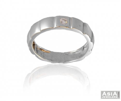18K White Gold Mens Fancy Band
