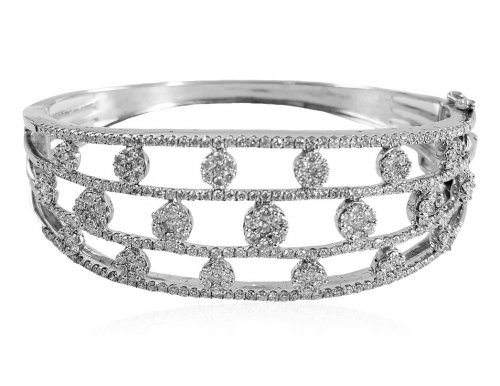 18kt White Gold Diamond Kada
