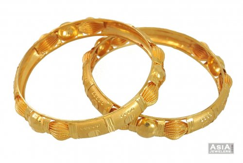 Gold Bangles 21 Kt AsBa54530 21Karat Gold Bangles with fine