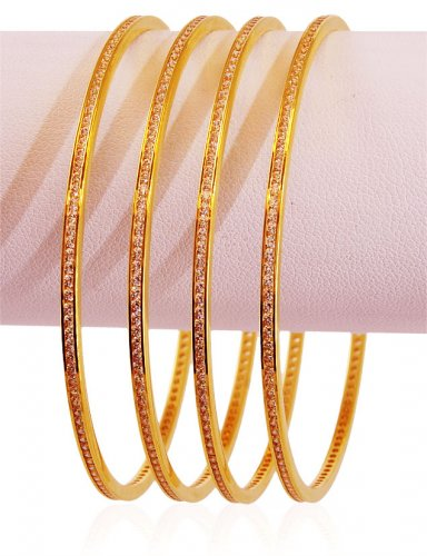 22K Plain CZ Bangles Set 4 PC
