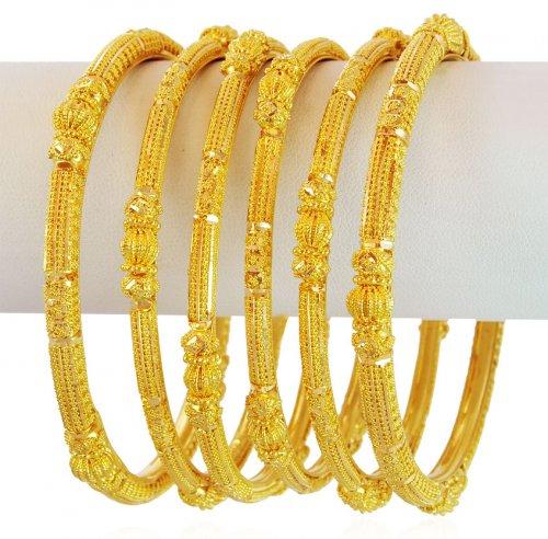 22k Gold Filigree Bangles Set Asba60084 22k Gold
